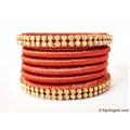 Brick Red Colour Silk Thread Bangles-6 Set