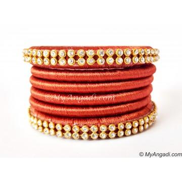 Brick Red Colour Silk Thread Bangles-6 Set