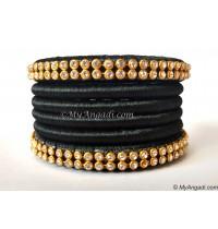 Black Colour Silk Thread Bangles-6 Set