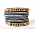 Grey Colour Silk Thread Bangles-6 Set