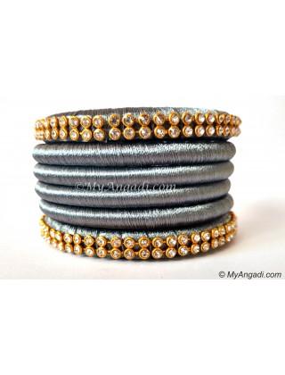 Grey Colour Silk Thread Bangles-6 Set