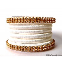 White  Silk Thread Bangles-6 Set