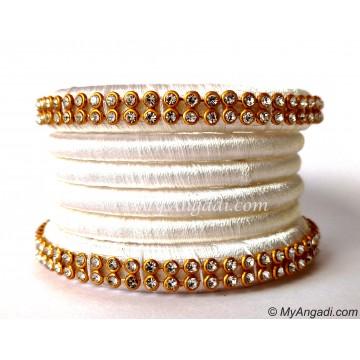 White  Silk Thread Bangles-6 Set