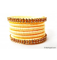 Ivory Colour Silk Thread Bangles-6 Set