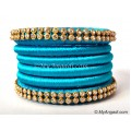 Blue Colour Silk Thread Bangles-6 Set