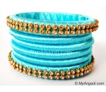 Turquoise Blue Colour Silk Thread Bangles-6 Set