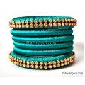 Teal Green Colour Silk Thread Bangles-6 Set