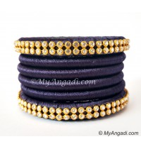 Dark Blue Colour Silk Thread Bangles-6 Set
