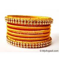 Golden Colour Silk Thread Bangles-6 Set