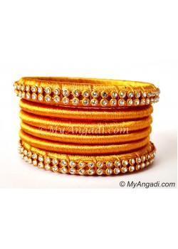 Golden Colour Silk Thread Bangles-6 Set