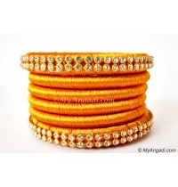 Dark Yellow Colour Silk Thread Bangles-6 Set