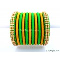 Lime Green Silk Thread Bangles-11 Set