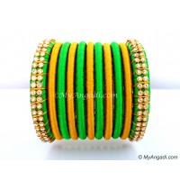 Lime Green Silk Thread Bangles-11 Set