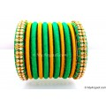 Green Silk Thread Bangles-11 Set