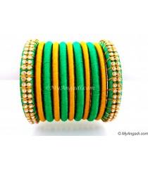 Green Silk Thread Bangles-11 Set