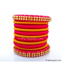 Pink Silk Thread Bangles-11 Set