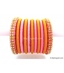 Rose Colour Silk Thread Bangles-11 Set