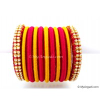 Magenta Colour Silk Thread Bangles-11 Set