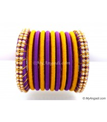 Violet Colour Silk Thread Bangles-11 Set