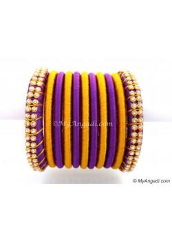 Violet Colour Silk Thread Bangles-11 Set
