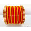 Orange Colour Silk Thread Bangles-11 Set