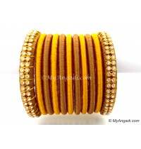 Kakki Colour Silk Thread Bangles-11 Set