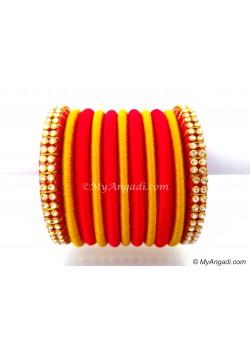 Red Colour Silk Thread Bangles-11 Set