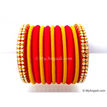 Red Colour Silk Thread Bangles-11 Set