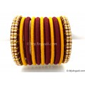 Maroon Colour Silk Thread Bangles-11 Set