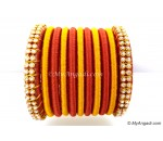 Brick Red Colour Silk Thread Bangles-11 Set