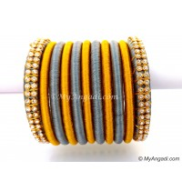 Grey Colour Silk Thread Bangles-11 Set