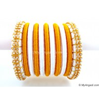 White  Silk Thread Bangles-11 Set