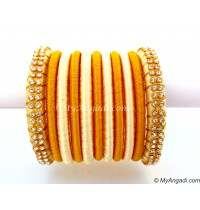 Ivory Colour Silk Thread Bangles-11 Set
