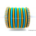 Blue Colour Silk Thread Bangles-11 Set