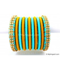 Turquoise Blue Colour Silk Thread Bangles-11 Set