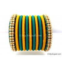 Teal Green Colour Silk Thread Bangles-11 Set