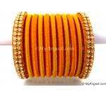 Golden Colour Silk Thread Bangles-11 Set