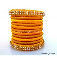 Dark Yellow Colour Silk Thread Bangles-11 Set