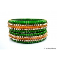 Lime Green  Colour Silk Thread Bangles-Triple Set