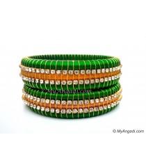 Lime Green  Colour Silk Thread Bangles-Triple Set