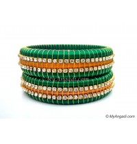 Green Colour Silk Thread Bangles-Triple Set