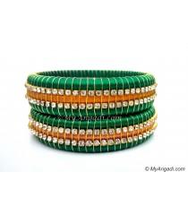 Green Colour Silk Thread Bangles-Triple Set