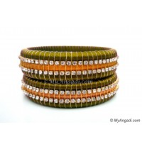 Olive Green  Colour Silk Thread Bangles-Triple Set