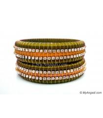 Olive Green  Colour Silk Thread Bangles-Triple Set