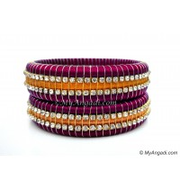 Magenta Colour Silk Thread Bangles-Triple Set