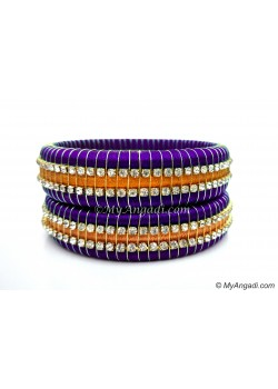 Violet Colour Silk Thread Bangles-Triple Set