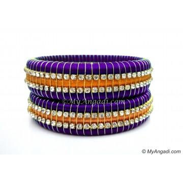 Violet Colour Silk Thread Bangles-Triple Set