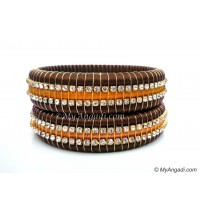 Kakki Colour Silk Thread Bangles-Triple Set