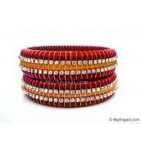 Red Colour Silk Thread Bangles-Triple Set