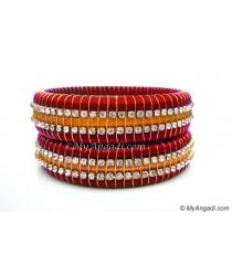 Red Colour Silk Thread Bangles-Triple Set